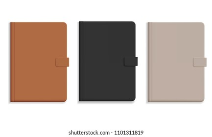 Set of diary or notebook in hard leather cover, black and brown and champagne color - vector