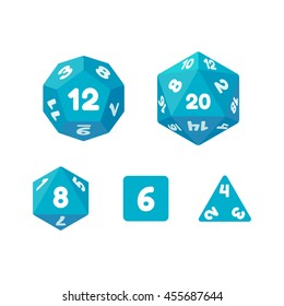 Set of dice for fantasy RPG tabletop games. Cube and polyhedrons with numbers. Flat vector icons.