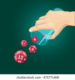 Set of dice for fantasy tabletop games, cube with numbers, polyhedrons with numbers, glass falling dice, hand throws dice