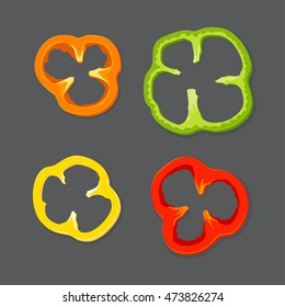 Set diced peppers, Vector illustration in flat, cartoon style isolated from the background, EPS 10