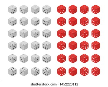 set of dices for playing poker flat isometry, vector illustration
