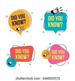 Set of did you know badges with megaphone