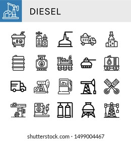 Set of diesel icons such as Oil well, Electric generator, Lubricant, Storage tank, Dumper, Oil, Tank, Oil rig, Lorry, Petroleum, Fuel station, pump, Pistons, Gas station , diesel