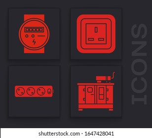 Set Diesel power generator, Electric meter, Electrical outlet and Electric extension cord icon. Vector