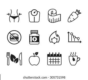 Set of diet icons // Black & White