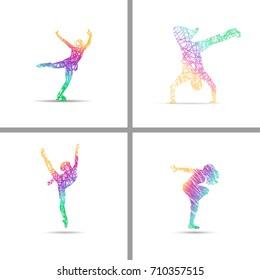 Set of diferent dance style fir web design