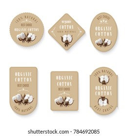 Set of diferent shapes of tags with photo realistic cotton on a beige background and inscription hundred percent natural organic cotton and best choise. Perfect for busines labels, price textile