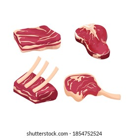 Set difference pieces, slice raw meat, steak isolated on white background. Detailed drawing with fat and rib. Objecs, clipart. Close up view.