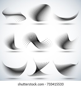 Set of different abstract halftone dots pattern vector illustration...