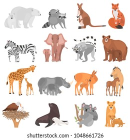 Set of different adult animals and their cubs color flat icons