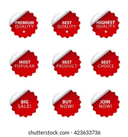 set of different advertising badges and stickers in red color, on white background, sale and discount