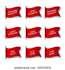 set of different advertising flags and stickers in red color, sale, premium, best and quality