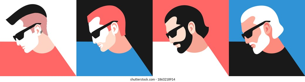 Set of different age male characters. Young, adult and old men, wearing t-shirts and sunglasses. Vector illustration
