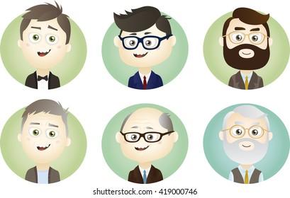 Set of Different Age Man Avatars. EPS10