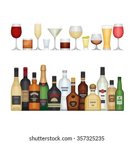 Set of different alcohol bottle and glasses. Alcohol drinks and beverages. Flat design style, vector illustration.