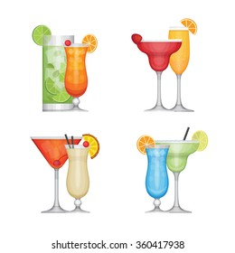 Set of different alcohol cocktail by glasses. Flat design style, vector illustration.