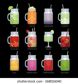 Set of different alcohol cocktail and smoothie mason jar. Bar menu. Vector illustration.