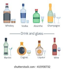 Set of different alcoholic drinks and glasses isolated on white background. Wineglasses and bottles collection. Vector illustration. Flat style