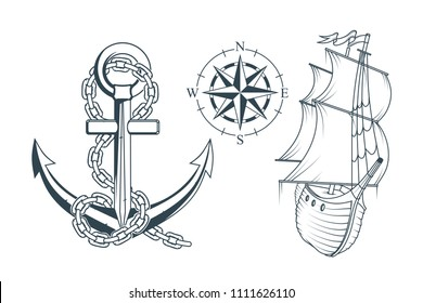 Set of different anchors for marine design. Illustration of a ship's anchor with a rope and ship. Vector graphics to design.