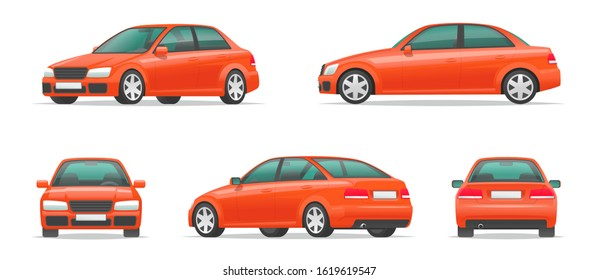 Set of different angles of a red car. City sport sedan view from the side, front, rear and in profile. Vehicle for your project. Vector illustration in cartoon style