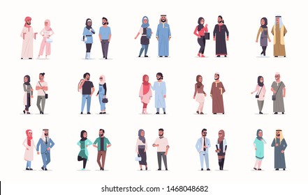 set different arabic business couple standing together arab man woman wearing traditional clothes arabian cartoon characters collection full length flat white background horizontal