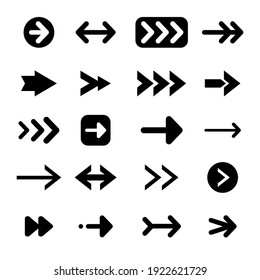 Set of different arrows. directional  arrow flat style isolated on white background. Vector illustration.