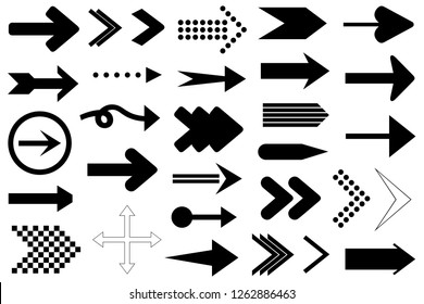Set of different arrows isolated on white