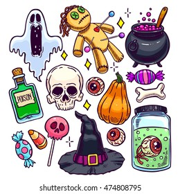 Set of different attributes of Halloween. hand-drawn illustration