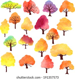 set of different autumn trees painted by watercolor, vector illustration