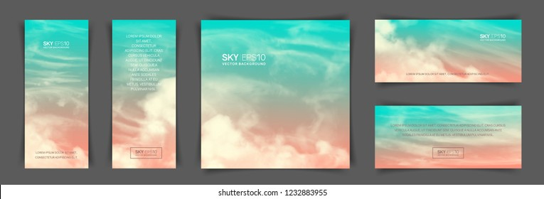 Set of different backgrounds with realistic pink-blue sky and clouds. The image can be used to design a banner, flyer and postcard.