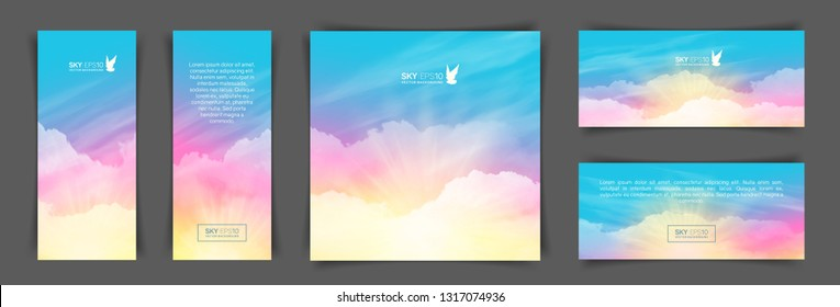 Set of different backgrounds with realistic pink-blue sky and cumulus clouds. The image can be used to design a banner, flyer and postcard.