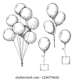 Set of different balloons. Inflatable balls on a string. Inflatable balloons with a card for text. Sketch