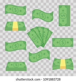 Set different banknotes money. Stack bills, finance heap cash - flat vector illustration. Currency objects on a transparent background