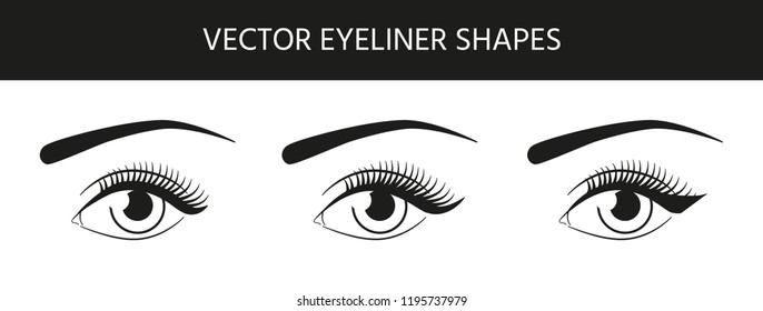 Set of different beautiful vector eyes with black eyeliner shapes