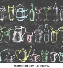 Set of different beverages. Hand drawn colored illustration on the blackboard. Retro vintage style. Seamless background. Vector illustration.