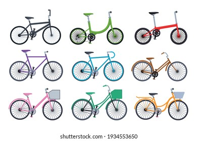 Set of different bicycles collection isolated on white background vector illustration