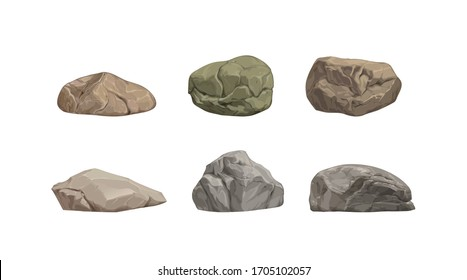 Set of different big cartoon stones. Vector illustration