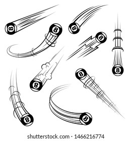 Set of different billiards ball movement path