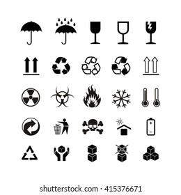 Set of different black cargo symbols isolated on white