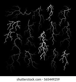 Set of different black cracks isolated on black background. Set of simple lightning bolts. Vector illustration for your graphic design.