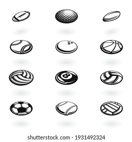 Set of different black isometric sport balls isolated on white background
