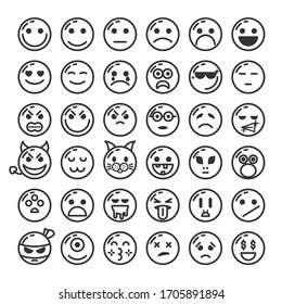 Set Of DIfferent Black Line Smile Vector Icon Emoticons Sign Doodle