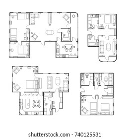 Set of different black and white house floor plans with interior details isolated on white
