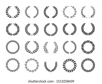 Set of different black and white silhouette circular laurel foliate, oak and olive wreaths depicting an award, achievement, heraldry, nobility, emblem. Vector illustration.