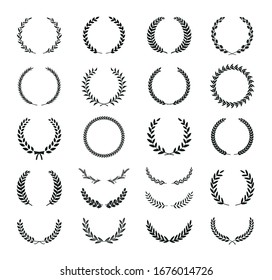 Set of different black and white silhouette round laurel foliate, wheat, oak and olive wreaths depicting an award, achievement, heraldry, nobility, emblem. Vector illustration.