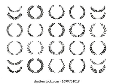 Set of different black and white silhouette round laurel foliate and wheat wreaths depicting an award, achievement, heraldry, nobility, emblem, logo. Vector illustration.