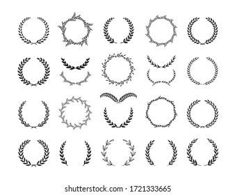 Set of different black and white silhouette circular laurel foliate and olive wreaths depicting an award, achievement, heraldry, nobility, emblem, logo. Vector illustration.