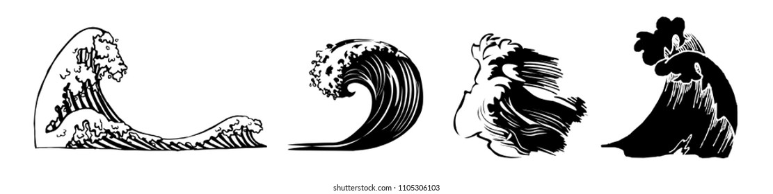 Set of different black and white waves isolated on white background