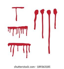 Set of different blood drops. Vector illustration.