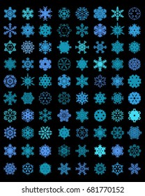 Set of different blue snowflakes on a black background